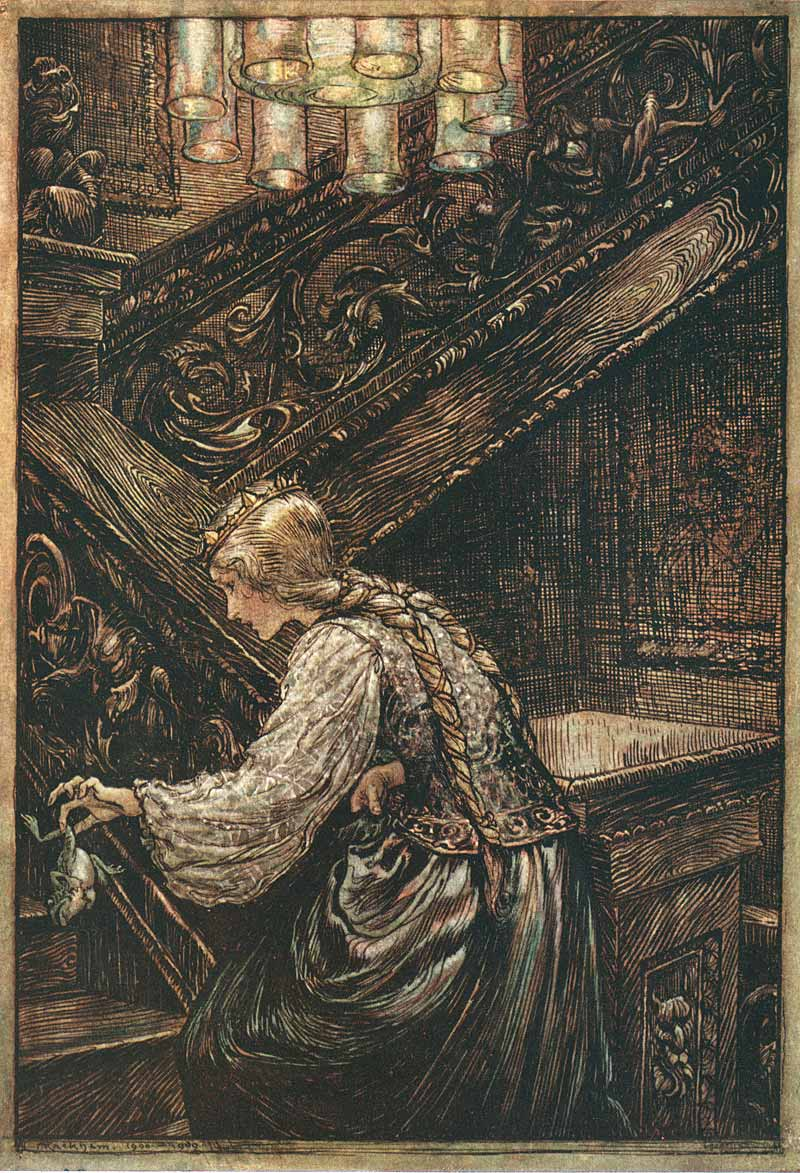 "Arthur Rackham's illustration for the Grimm's fairy tale ""The Frog Prince"""