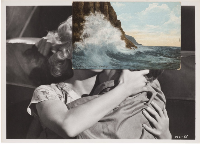 John Stezaker, Untitled (Film Still Collage) LIV, 2013, 20.3 x 25.8 cm (Photo courtesy Mendes Wood, São Paulo via artaddict.net)