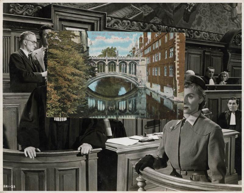 John Stezaker, The Trial, 1978 Collage, 19 x 24 cm Photo via theapproach.co.uk)